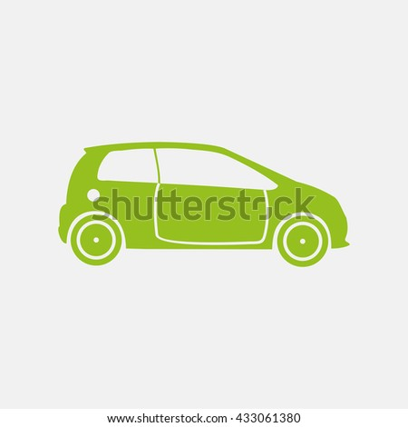 Green icon of Car on Light Gray background. Eps-10.