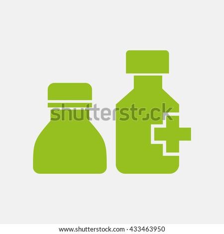 Green icon of Drug Bottle on Light Gray background. Eps-10. - stock vector