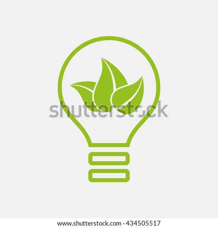 Green icon of Ecology, Leaf & Bulb on Light Gray background. Eps-10.