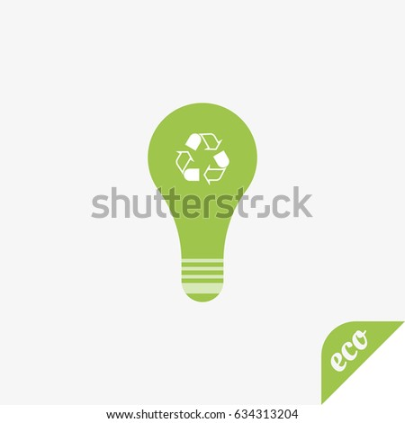 Green icon of ecology. Light bulb on a light background. Flat vector symbol EPS10
