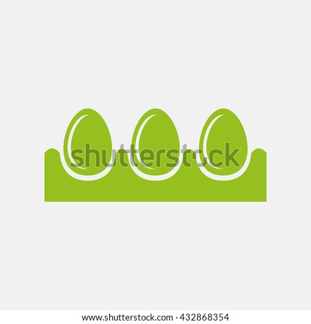 Green icon of Egg Tray on Light Gray background. Eps-10. - stock vector