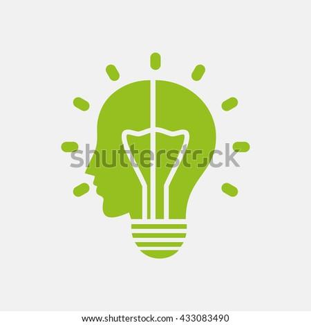 Green icon of Human Head, Idea Bulb on Light Gray background. Eps-10. - stock vector