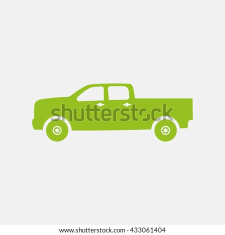 Green icon of Pick-Up Car on Light Gray background. Eps-10.