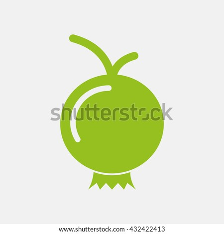 Green icon of Pomegranate on Light Gray background. Eps-10.