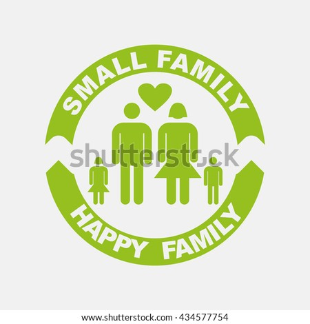 Green icon of Small  Family on Light Gray background. Eps-10. - stock vector