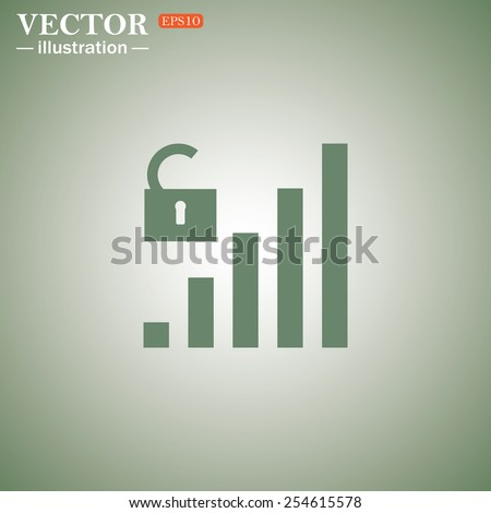 Green icon on a green background. signal strength indicator, open access , vector illustration, EPS 10 - stock vector