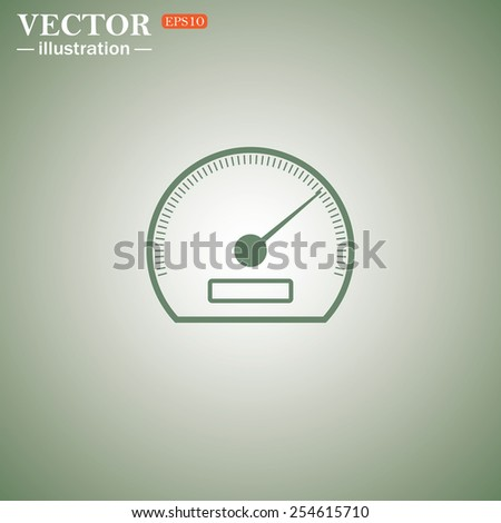 Green icon on a green background. speedometer. Vector illustration EPS 10  - stock vector