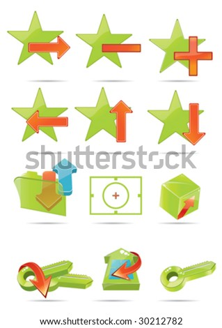 green icon set and the red arrows 11 - stock vector