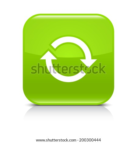 Green icon with white arrow repeat, reload, refresh, rotation sign. Set 02. Rounded square button with gray reflection, black shadow on white background. Vector illustration web design in 8 eps - stock vector