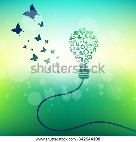 Green icons concept design and save world background, vector illustration