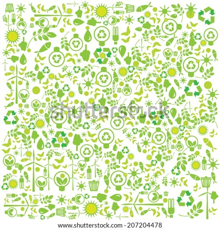 Green icons on background. - stock vector