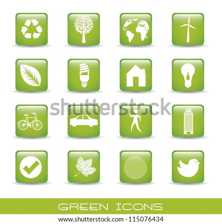 green icons over white background. vector illustration - stock vector