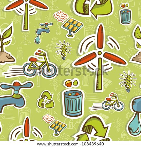 Green icons pattern on seamless icon background.  Vector file layered for easy manipulation and custom coloring. - stock vector