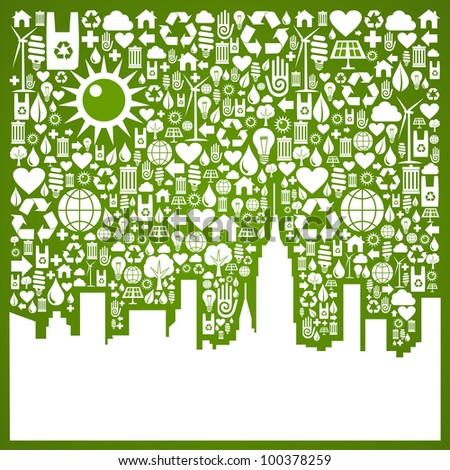 Green icons set in city silhouette background. Vector file available.