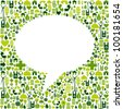 Green icons set in social media speech bubble background. Vector file available. - stock photo