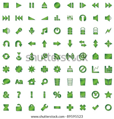 green icons set isolated on white background - stock vector