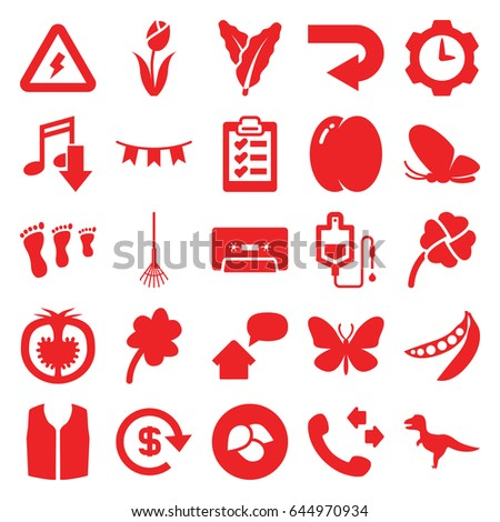 Green icons set. set of 25 green filled icons such as leaf, peach, spinach, butterfly, clover, sleeveless shirt, call, rake, drop counter, tomato, peas, cassette, party flag