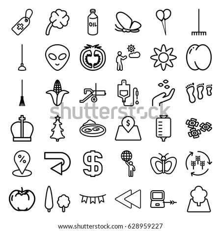 Green icons set. set of 36 green outline icons such as laptop connection, butterfly, harvest, peach, apple, corn, oil, hand with seeds, balloon, rake, hoe, pond