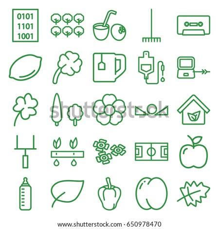 Green icons set. set of 25 green outline icons such as laptop connection, leaf, peach, pepper, tree, lemon, baby bottle, clover, tea cup, rake, flower, drop counter, cassette