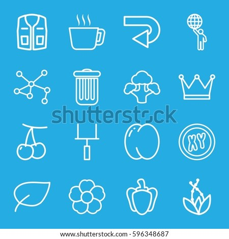 green icons set. Set of 16 green outline icons such as peach, cherry, sleeveless shirt, flower, broccoli, pepper, connection, trash bin, goal post, back arrow, leaf