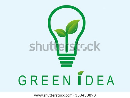 Green idea and save world concept, Lamp icon vector