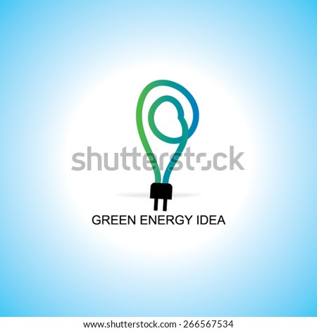 green idea concept with electric pin  - stock vector