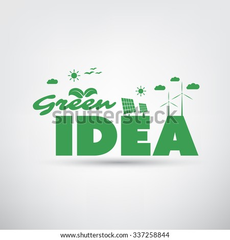Green Idea Text With Green Energy Icons - stock vector