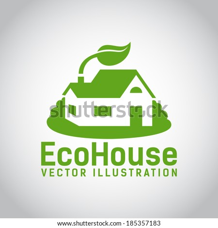 Green illustration of an eco house or eco home  surrounded by grass and with a leaf above the roof  environmentally low-impact and eco-friendly construction  on grey background