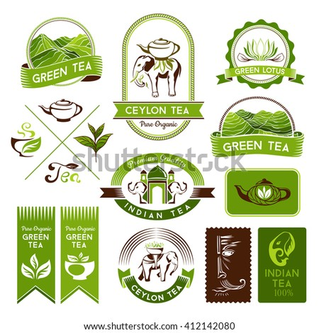 Green, indian, ceylon and black tea labels and badges. Decorative elements for package design - stock vector