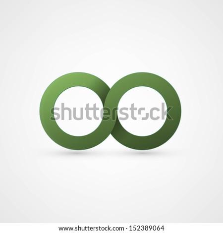 green infinity sign - stock vector