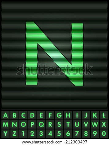 Green interlaced letters and numbers font set - letter N