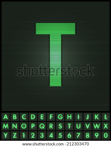 Green interlaced letters and numbers font set - letter T