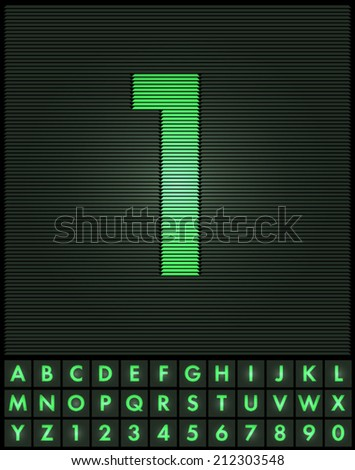 Green interlaced letters and numbers font set - number 1