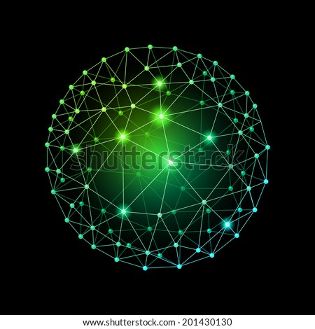Green internet web sphere on a black background - stock vector