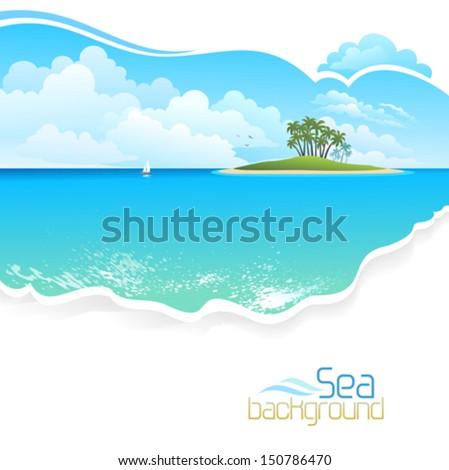 Green Island in Ocean - stock vector
