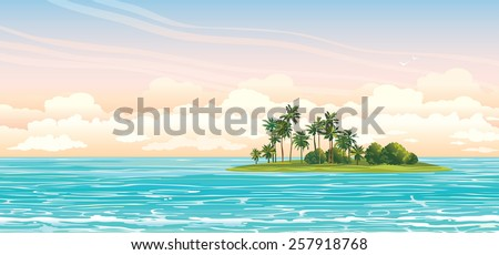 Green island with coconut palms in the blue sea on a cloudy sky. Vector seascape illustration. - stock vector