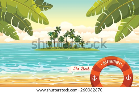 Green island with coconut palms in the blue sea on a cloudy sky. Vector summer holiday. - stock vector