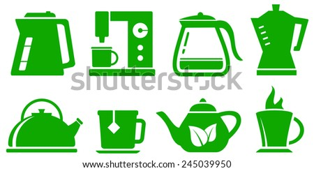 green isolated icons kettle set for coffee or tea - stock vector