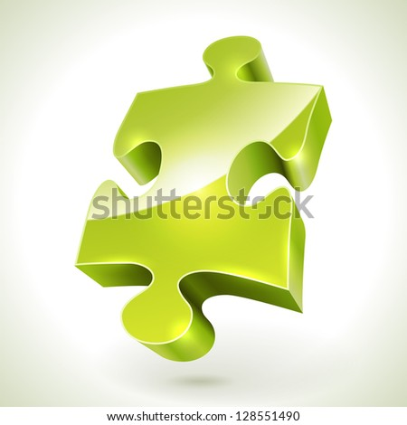 Green jigsaw puzzle item vector icon isolated on white background. - stock vector