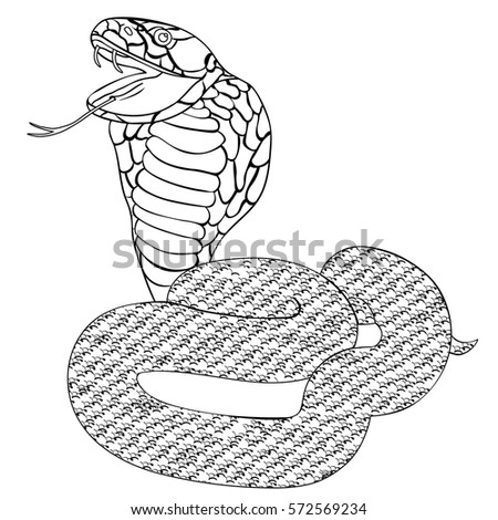 Green King Cobra With Fangs Coloring Vector Illustration