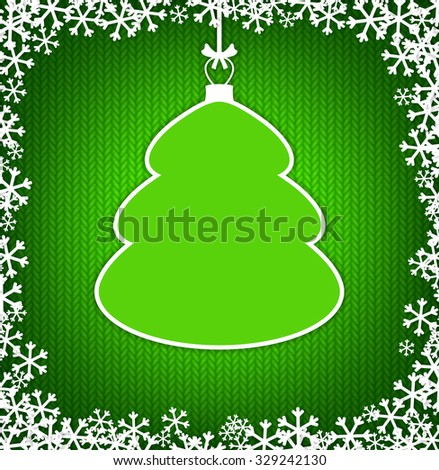 Green knitted background with empty frame as Christmas tree - stock vector