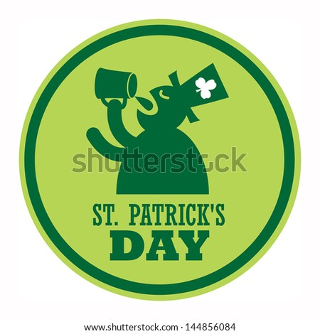 Green label and the text St. Patrick's Day written inside, vector illustration - stock vector
