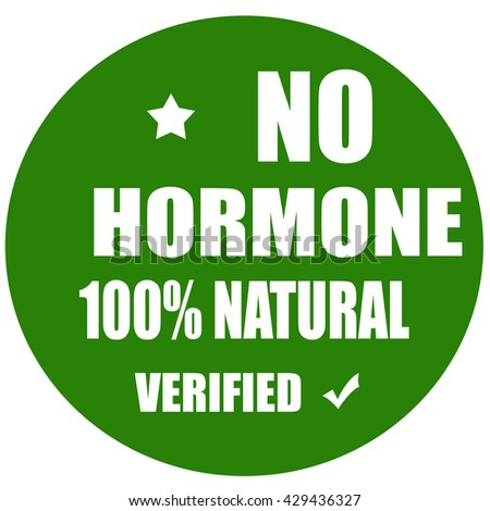 Green label with text No Hormone,vector illustration