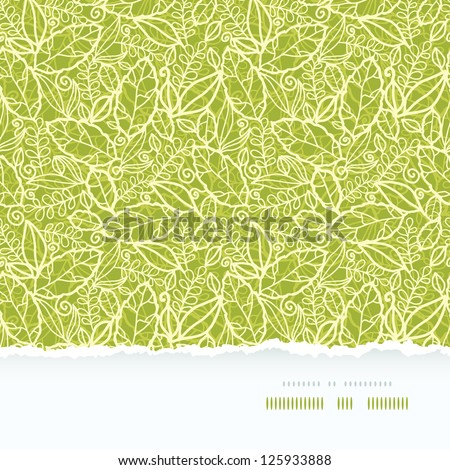Green lace leaves horizontal seamless pattern background - stock vector