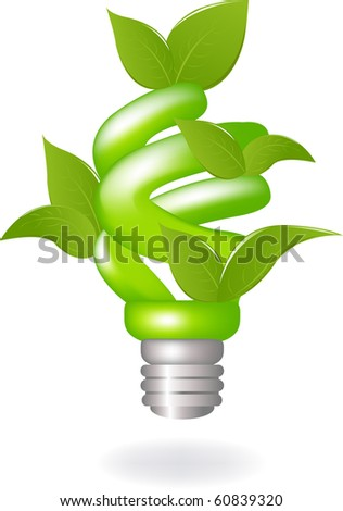 Green Lamp With Leaves, Isolated On White Background, Vector Illustration