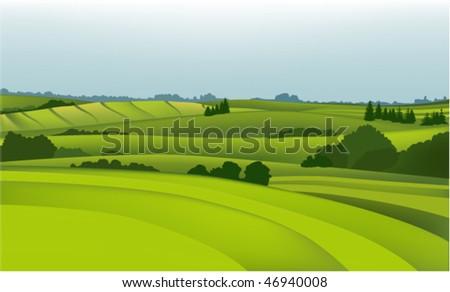 Green landscape - stock vector