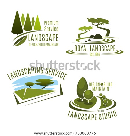 Green Landscape Design Service And Gardening Company Icons Templates.  Vector Symbols Set Of Green Nature