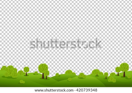 Green Landscape, Isolated on Transparent Background, Vector Illustration - stock vector