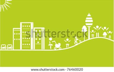 green landscape outline - stock vector