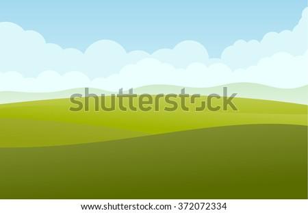 Green landscape vector - stock vector